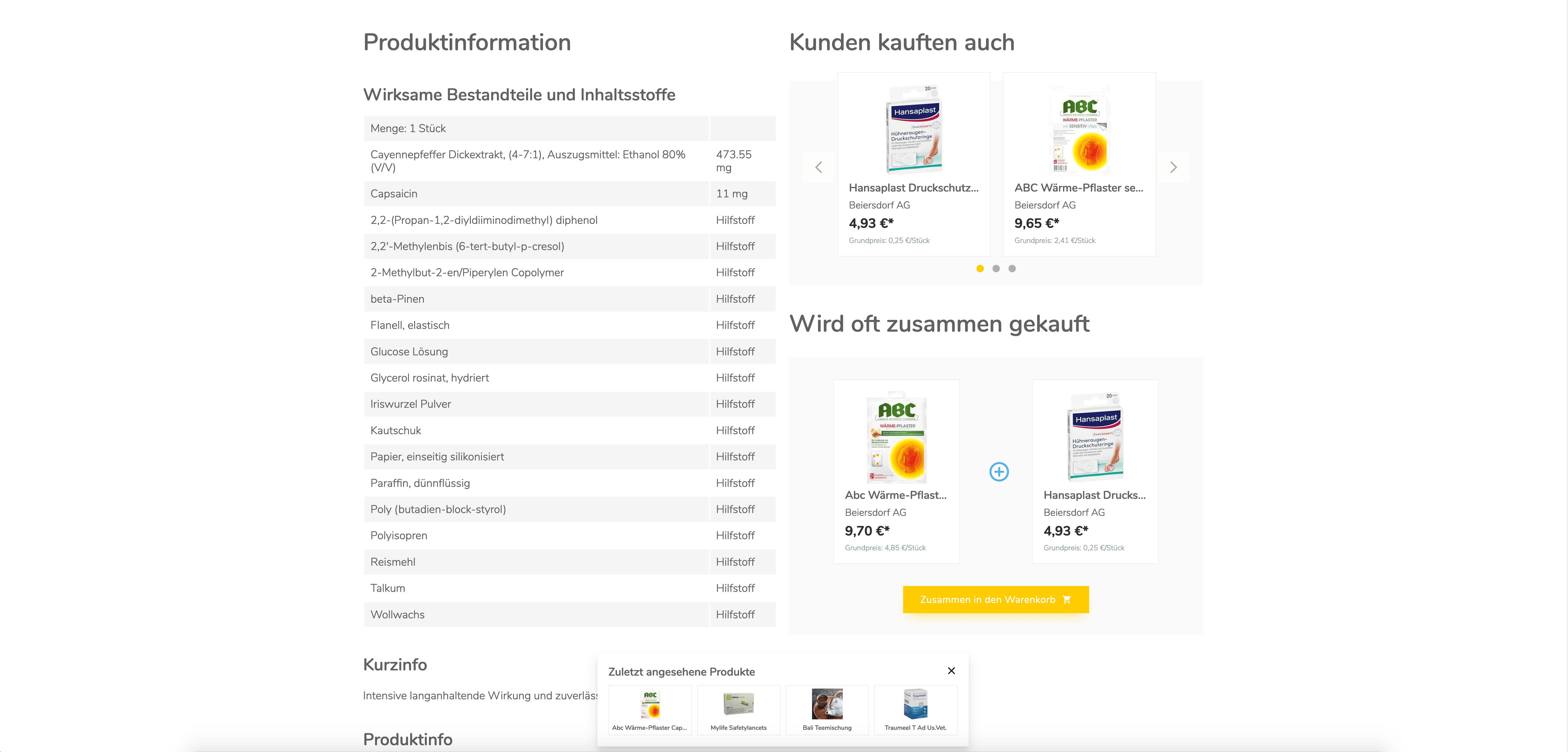 Screenshot der weiteren Produkt Details